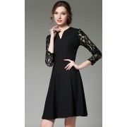 BDS031391154X V neck skater dress with lace sleeves ACTUAL PHOTO