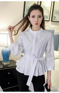 KTP0317195Z Cotton peplum blouse ACTUAL PHOTO