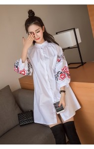 KDS03206133M Embroidery puff sleeves dress ACTUAL PHOTO
