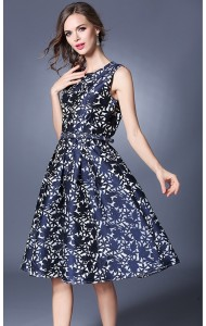 BDS032463087C Jacquard embroidery belted dress ACTUAL PHOTO
