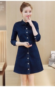 KDS032530035D High neck denim dress with bow ACTUAL PHOTO