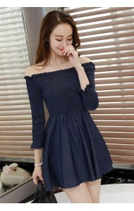 KDS032759285D Off shoulder denim dress ACTUAL PHOTO
