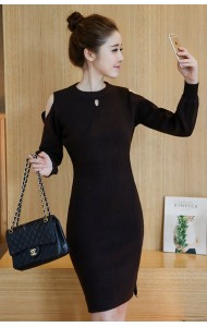 KDS032786255H Off shoulder knit dress ACTUAL PHOTO