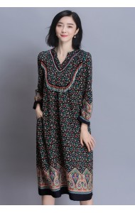 KDS032930719Y V neck ethnic beaded dress Actual Photo