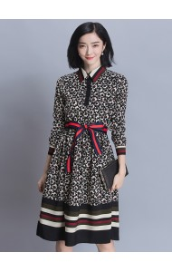 KDS032960712Y Printed floral collar ribbon dress Actual Photo