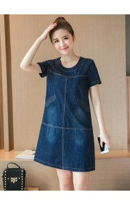 KDS040689513T Plus size pocket denim dress Actual Photo
