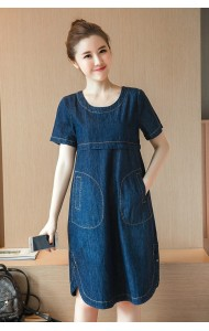 KDS040669513T Plus size A line pocket denim dress Actual Photo