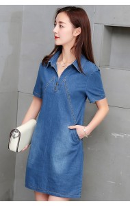 KDS040651713T V neck A line pocket denim dress Actual Photo