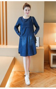 KDS040607483K Plus size long sleeves denim dress Actual Photo