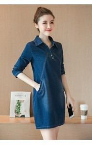 KDS040629513A Long sleeves V neck collar denim dress Actual Photo