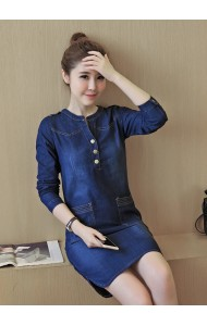 KDS04067583A Long sleeves V neck denim dress Actual Photo