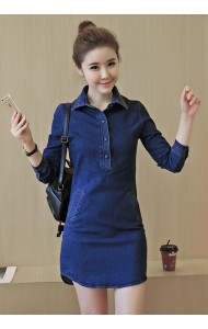 KDS04069683A Long sleeves V neck collar denim dress Actual Photo