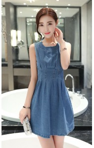 KDS05716YJ Slim pleated denim dress ACTUAL PICTURE