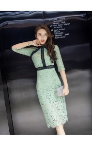 KDS040889396W Full lace pencil dress in mint ACTUAL PICTURE