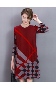 KDS041170854Y Plus size checked A line dress ACTUAL PICTURE