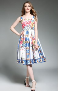 BDS041264154X Ethnic flared floral dress ACTUAL PICTURE