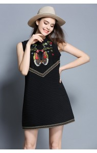 BDS041292157X Embroidery shift dress ACTUAL PICTURE