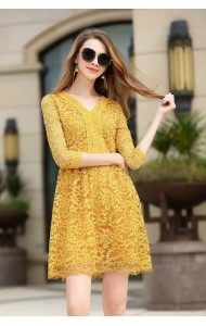 BDS041342397X V neck full lace dress in yellow ACTUAL PICTURE