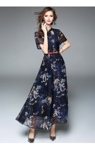 BDS042053193J Floral chiffon flared belted dress ACTUAL PICTURE