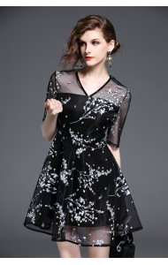 BDS042005953J Floral print V neck gauze dress ACTUAL PICTURE