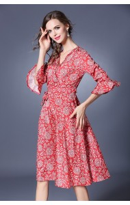 BDS042076061Y Trumpet sleeves red floral dress ACTUAL PICTURE