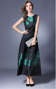 BDS042087061Y Embroidery floral maxi dress ACTUAL PICTURE