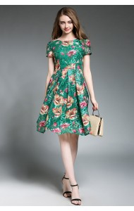 BDS042003286Y Green embroidery lace dress ACTUAL PICTURE