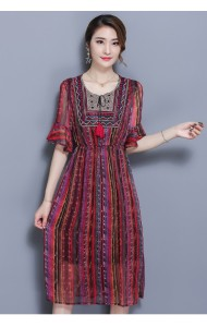 KDS042888382M Plus size embroidery printed dress ACTUAL PICTURE