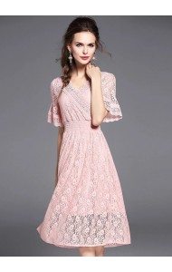 BDS04303923T Trumpet sleeves lace dress ACTUAL PICTURE