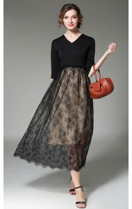 BDS050575077D V neck lace maxi dress ACTUAL PICTURE