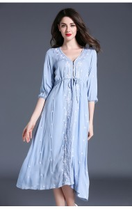 BDS050514152X Embroidery linen drawstring dress ACTUAL PICTURE (more color)