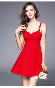 BDS050537082H Basic bare back flared dress ACTUAL PHOTO