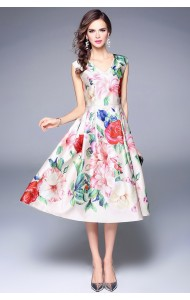 BDS05057115T Floral flared dress ACTUAL PHOTO