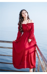 KDS05059287D Off shoulder linen maxi dress ACTUAL PHOTO (more color)