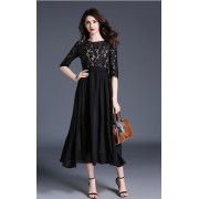 BDS050510372D Round neck lace maxi dress ACTUAL PHOTO