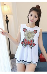 KTP05082251B Applique Embroidery wawa blouse ACTUAL PHOTO (more colors)