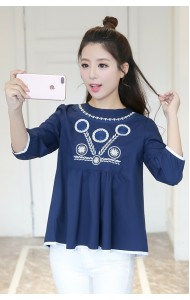 KTP05089151B Middle sleeves embroidery wawa blouse ACTUAL PHOTO (more colors)