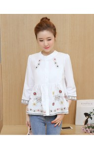 KTP05081251B Middle sleeves embroidery wawa blouse ACTUAL PHOTO (more colors)