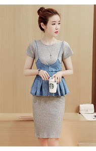 KDS050971926M Knit dress denim peplum set ACTUAL PHOTO (more colors)