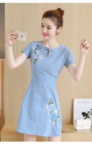 KDS050990092D Denim cheongsum embroidery dress ACTUAL PHOTO