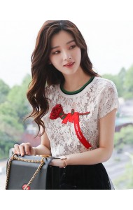KTP052485882S Embroidery rose lace blouse ACTUAL PHOTO