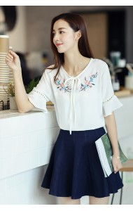 KTP052509882S Trumpet sleeves embroidery linen blouse ACTUAL PHOTO