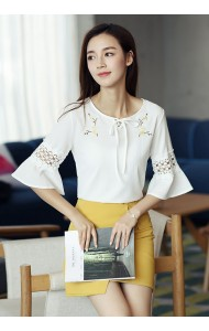 KTP052578883S Trumpet sleeves embroidery linen blouse ACTUAL PHOTO