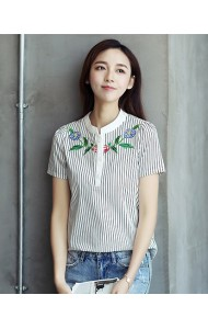 KTP052525886S Stripes embroidery shirt ACTUAL PHOTO