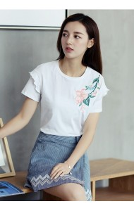 KTP052530882S Floral embroidery t shirt ACTUAL PHOTO