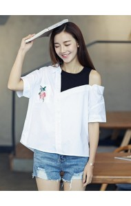 KTP052531887S Off shoulder embroidery blouse ACTUAL PHOTO
