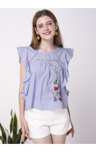 BTP052644862J Ruffle sleeves embroidery blouse ACTUAL PHOTO