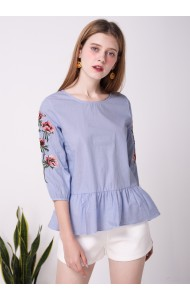 BTP0526548661J Puff sleeves embroidery blouse ACTUAL PHOTO
