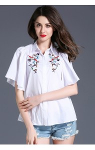 BTP052645861J Ruffle sleeves embroidery blouse ACTUAL PHOTO