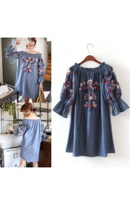 KDS053161192J Soft denim embroidery off shoulder dress ACTUAL PHOTO